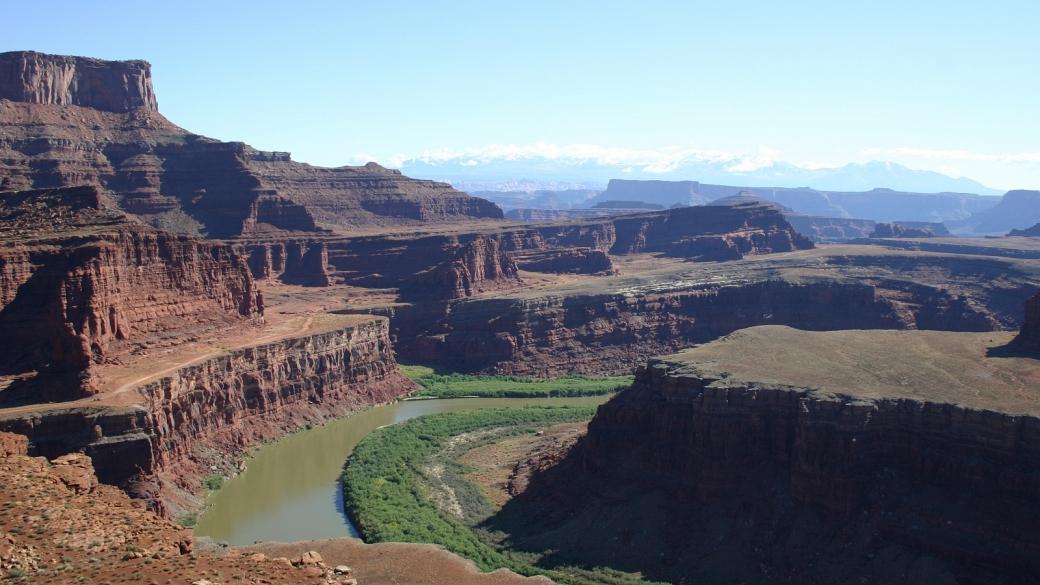 Vue sur le Colorado depuis le Shafer Trail, à Canyonlands National Park, près de Moab, Utah.