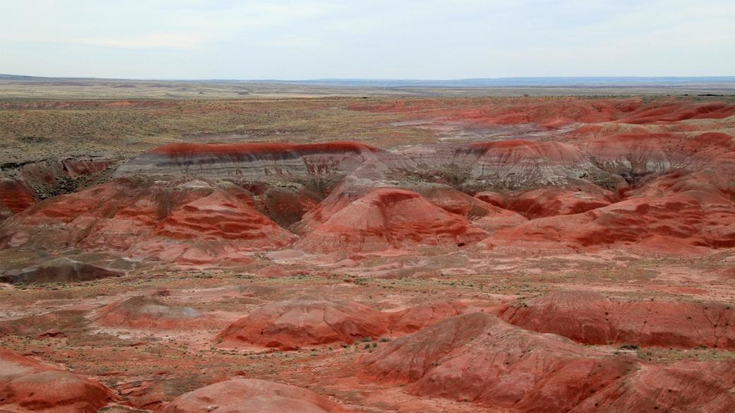 Vue sur Paintede Desert, du côté nord du parc de Petrified Forest National Park.