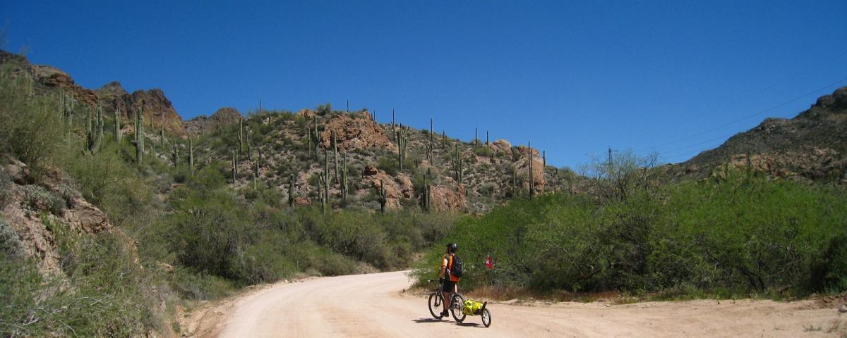 Stefano à vélo avec la remorque Bob Ibex sur le Apache Trail, près de Phoenix, dans l'Arizona.