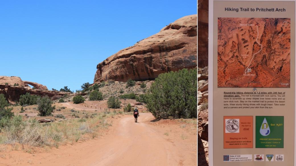 Le départ du court sentier (1 km environ) qui mène à Pritchett Arch, près de Moab, dans l'Utah.
