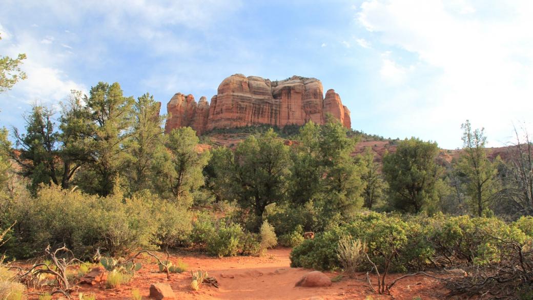 Vue sur Cathedral Rock, depuis le départ du sentier. À Sedona, Arizona.