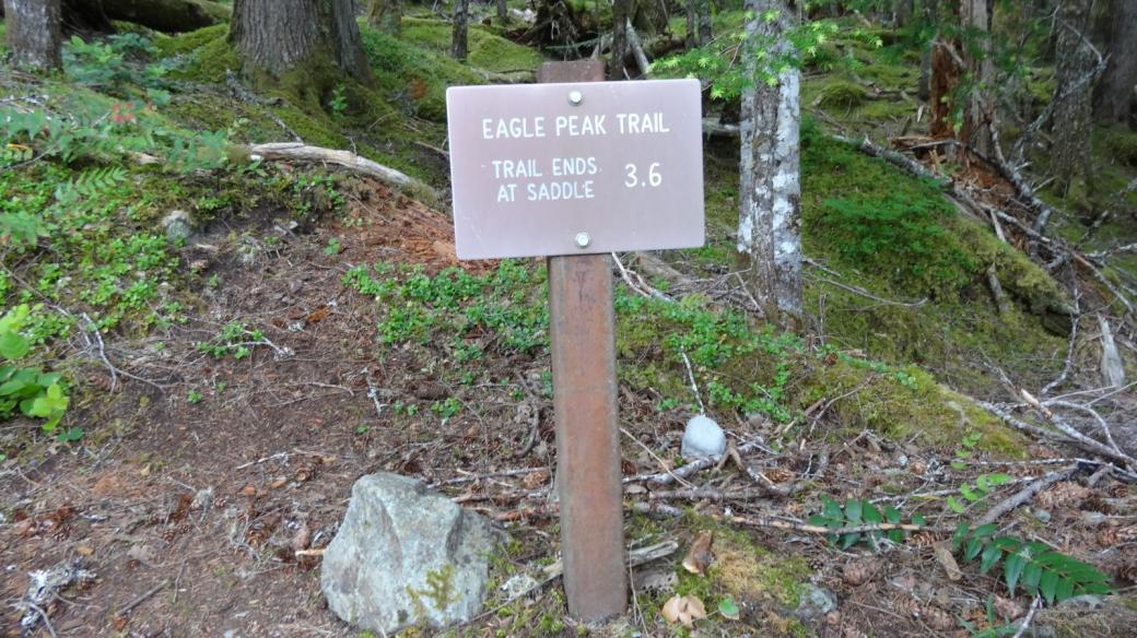 Panneau su départ du Eagle Peak Trail, au Mount Rainier National Park.