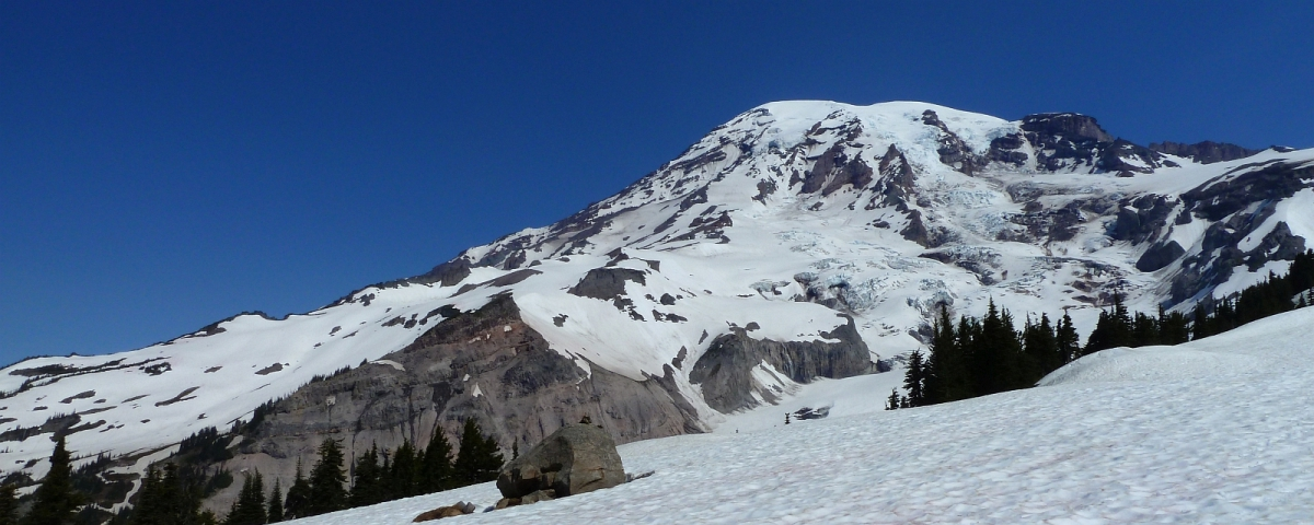 Muir Snowfield, immense névé en bas du Camp Muir, au Mount Rainier National Park.