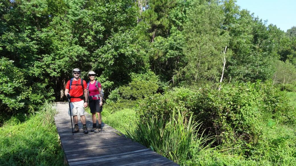 Stefano et Marie-Catherine à Huntsville State Park, au Texas.