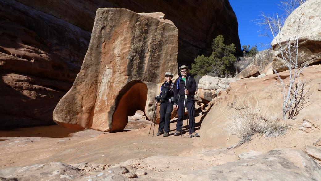 Stefano et Marie-Catherine à Kane Gulch, Utah