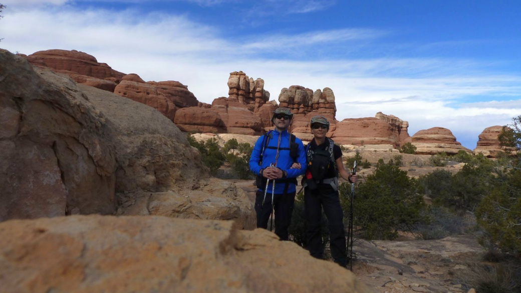 Stefano et Marie-Catherine à The Needles District - Canyonlands National Park