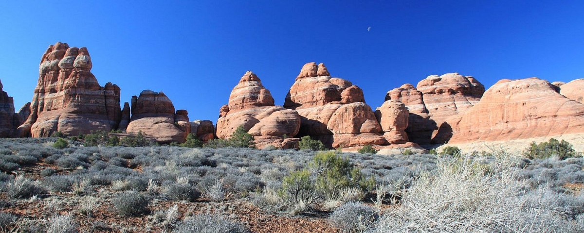 Vue sur Chesler Park, dans le Needles District de Canyonlands National Park, Utah.