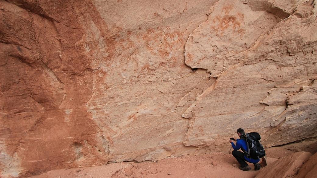 Des centaines de main d'Anasazi dans White Canyon, au Natural Bridges National Monument, dans l'Utah.