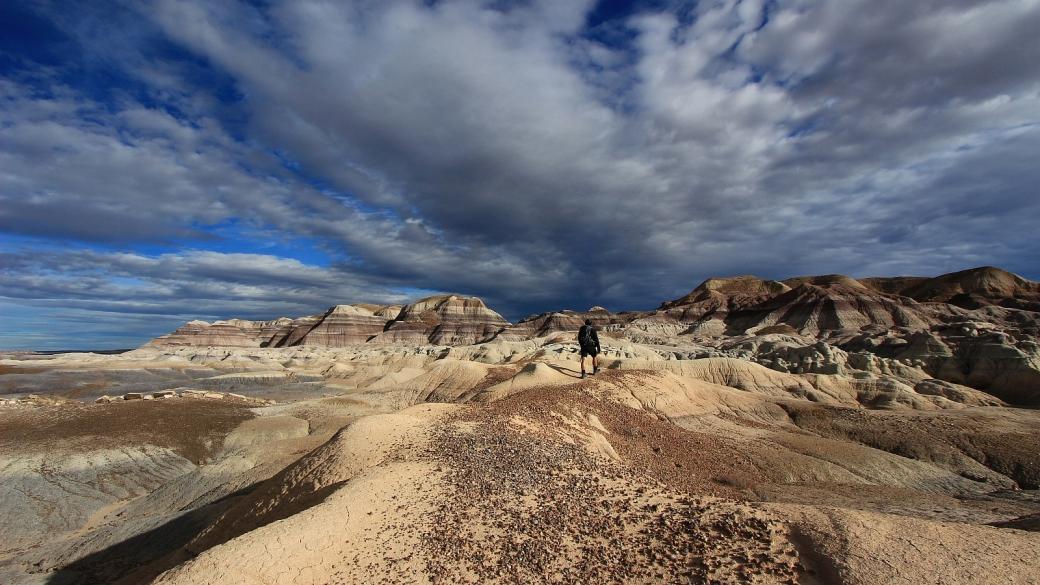 Stefano sur le Blue Forest Trail, à Petrified Forest National Park, Arizona.