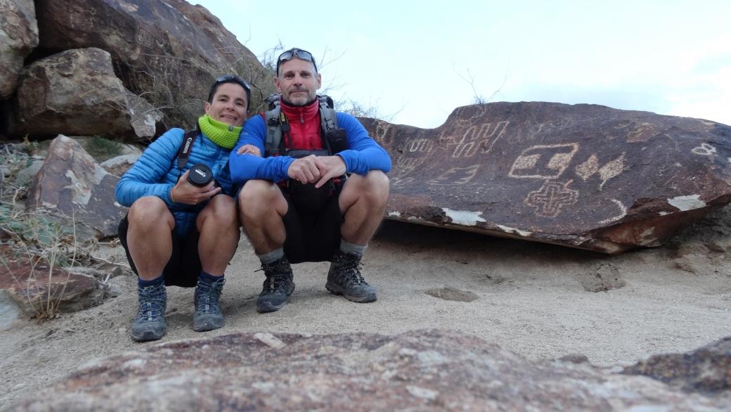 Stefano et Marie-Catherine, à Grapevine Canyon, près de Laughlin, au sud du Nevada.