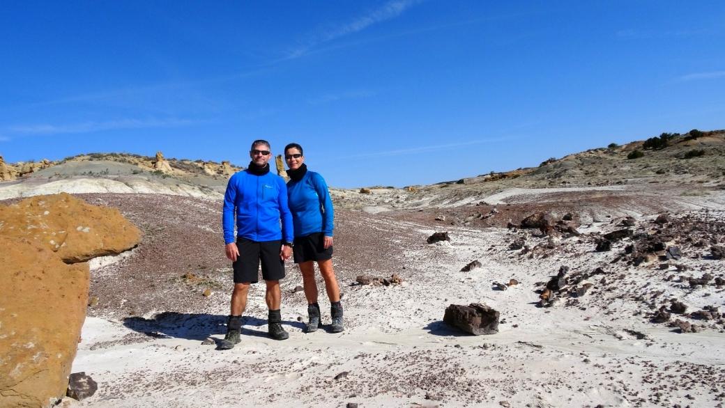 Stefano et Marie-Catherine à De-Na-Zin Wilderness en avril 2017. Près de Bloomfield, au Nouveau-Mexique.