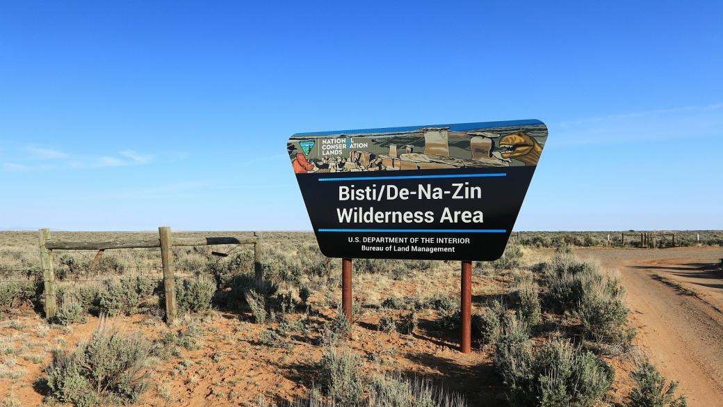 Panneau à l'entrée du parking de De-Na-Zin Wilderness Area, près de Bloomfield, au Nouveau-Mexique.