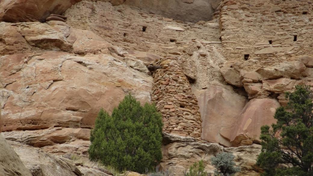 Vue sur la tour qui relie les deux niveaux du Shaft House Pueblito, à Crow Canyon, au Nouveau-Mexique.