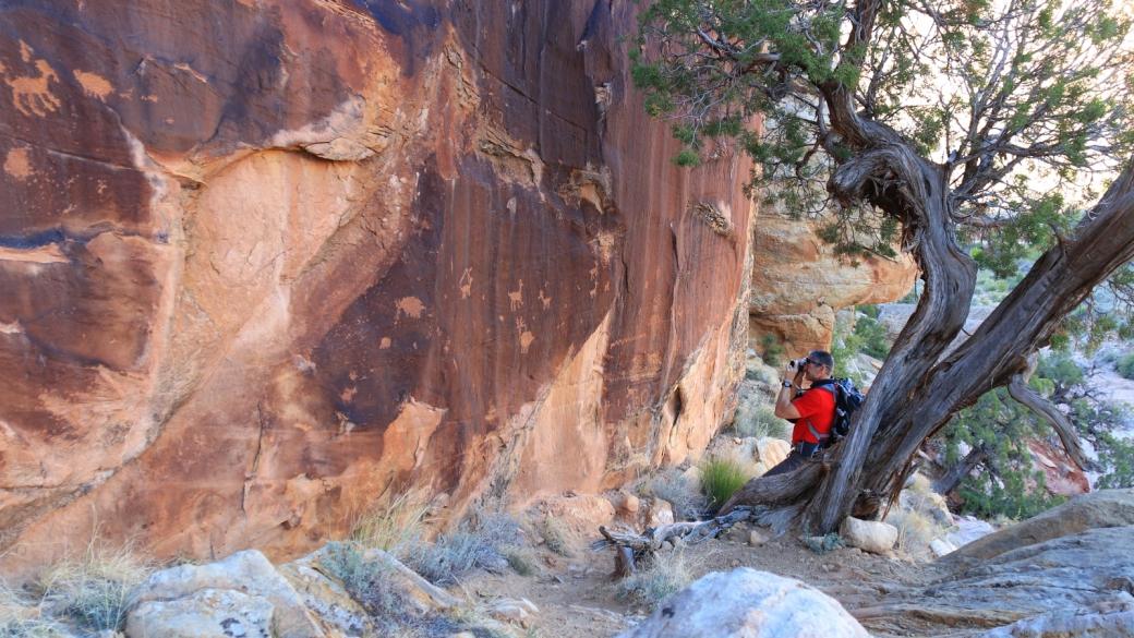 Stefano en pleine action sur le site de Shay Canyon à Indian Creek, près de Monticello, dans l'Utah.