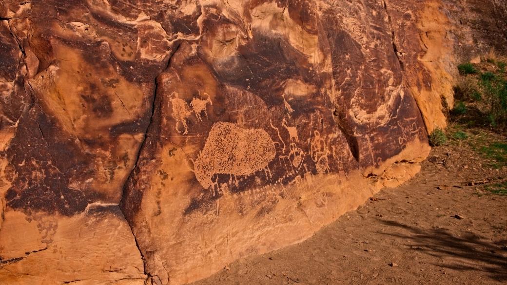 Photo quelque peu saturée du superbe Big Buffalo Panel, à Nine Mile Canyon, dans l'Utah.