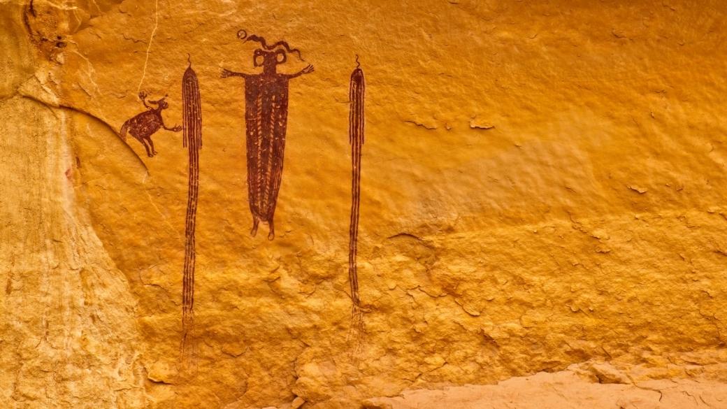 Zoom sur le Head of Sinbad Pictograph Panel, San Rafael Swell, près de Green River, dans l'Utah.