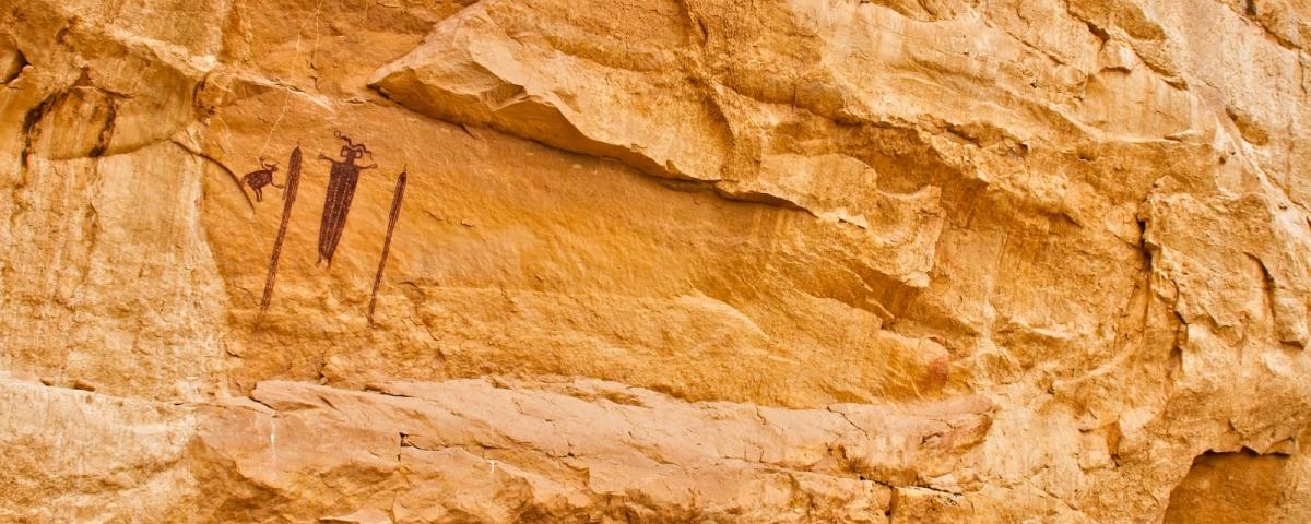 Head of Sinbad Pictograph Panel, San Rafael Swell, près de Green River, dans l'Utah.