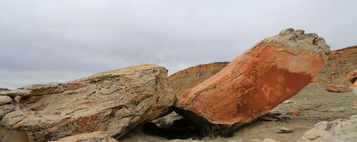 The Juggler, un panneau de pétroglyphes du côté du Molen Reef.