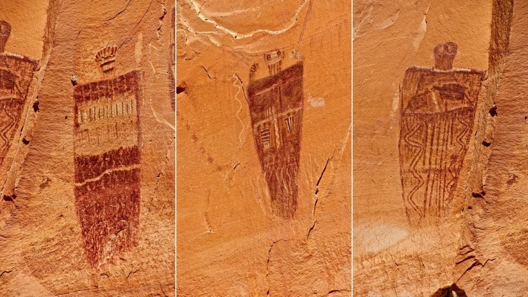 Détails sur trois personnages de The Great Gallery. À Horseshoe Canyon, près de Green River, dans l'Utah.