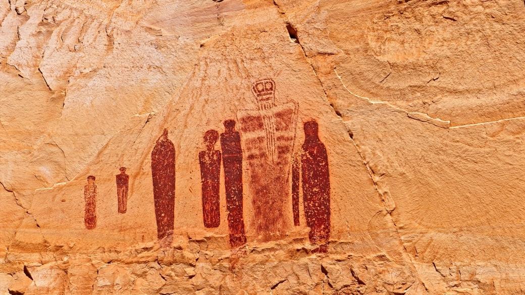 Le Holly Ghost Panel de la Great Gallery. À Horseshoe Canyon, près de Green River, dans l'Utah.