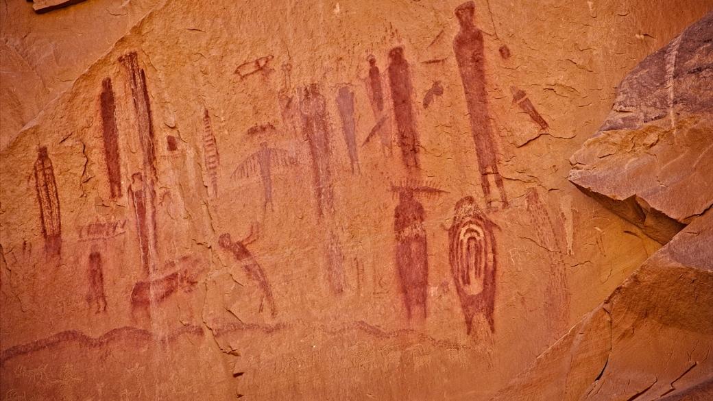 Vue d'ensemble sur la High Gallery. À Horseshoe Canyon, près de Green River, dans l'Utah.