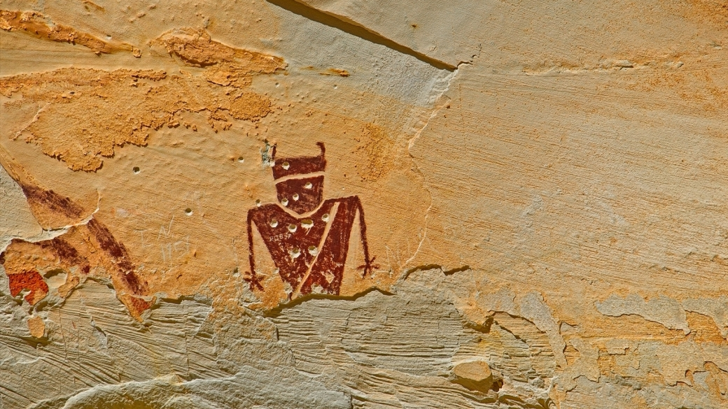 Détail sur un personnage du Temple Mountain Pictograph Panel. Près de Green River, dans l'Utah.