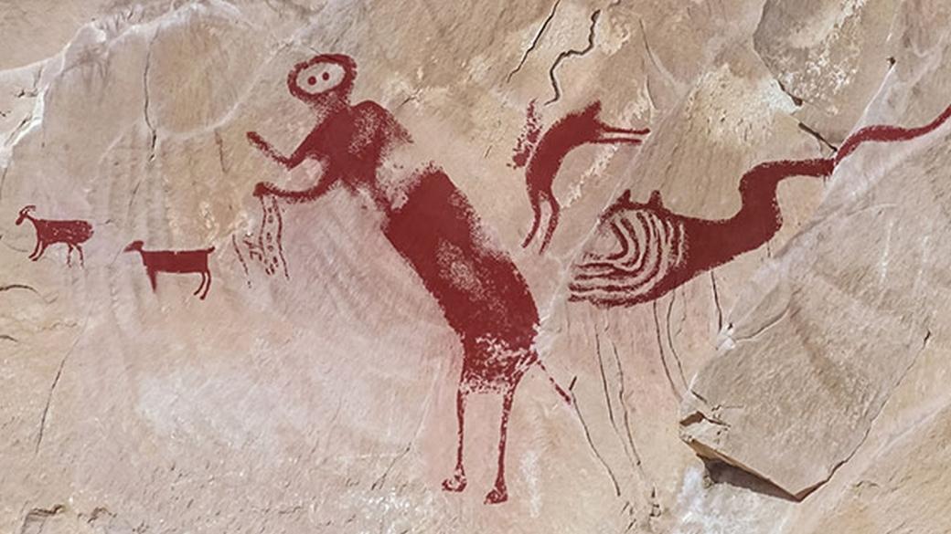 Photograph of rock art after image enhancement technique. JEAN-LOÏC LE QUELLEC