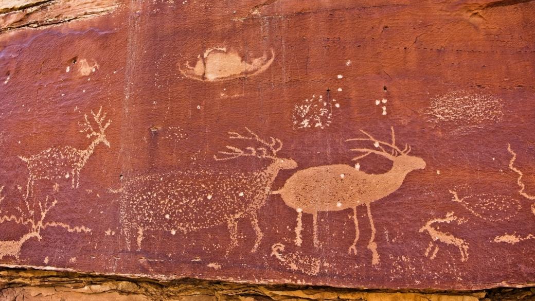 Zoom sur le Nefertiti Panel et ses beaux cerfs. Près de Green River, dans l'Utah.
