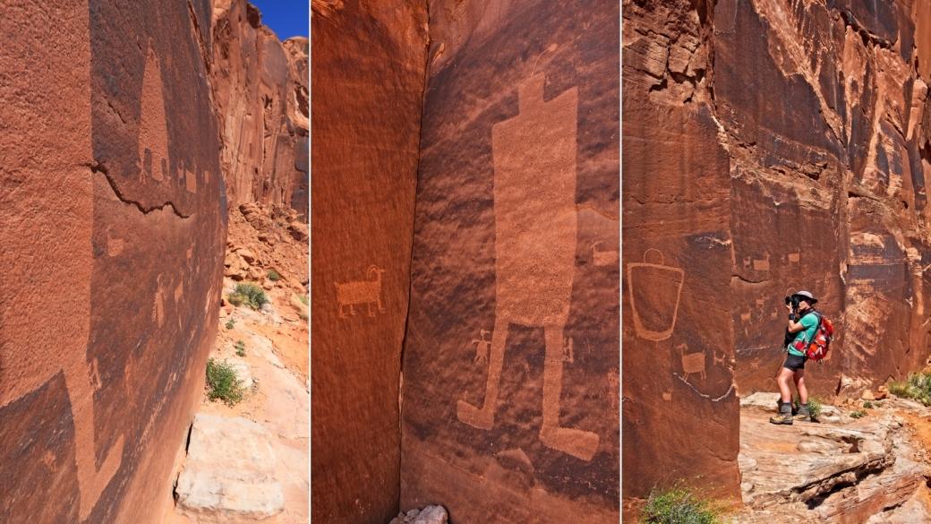 Triptyque autour du Owl Panel, et Marie-Catherine à l'oeuvre. À Kane Creek Blvd, près de Moab.