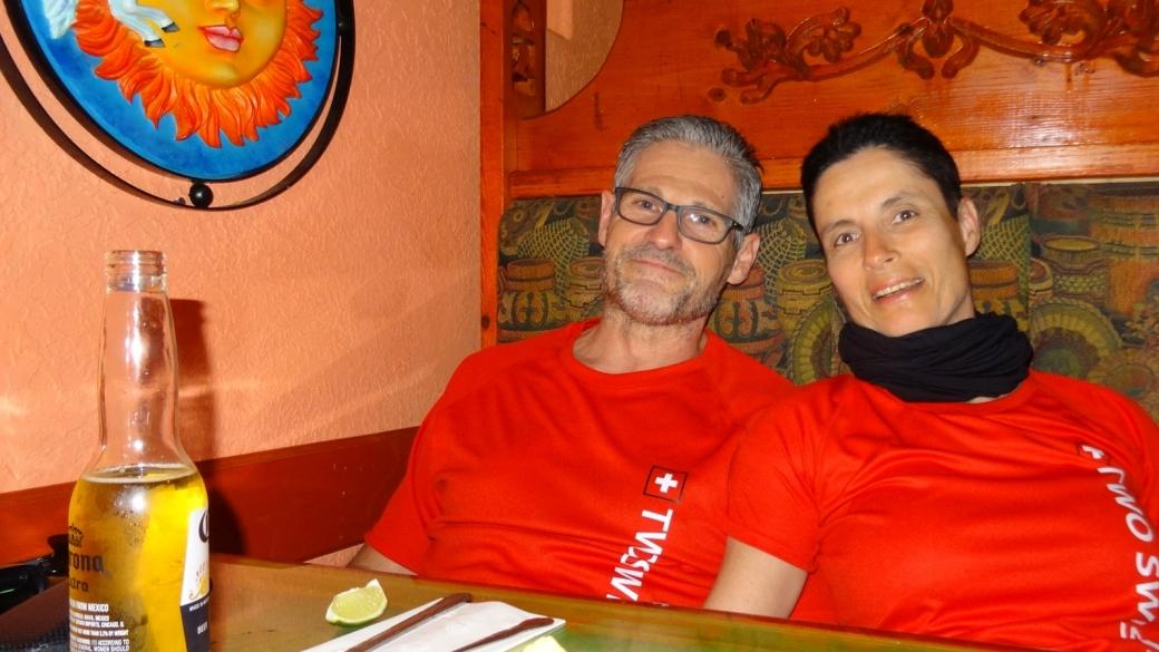 Stefano et Marie-Catherine au restaurant Fiesta Mexicana, à Moab, dans l'Utah.