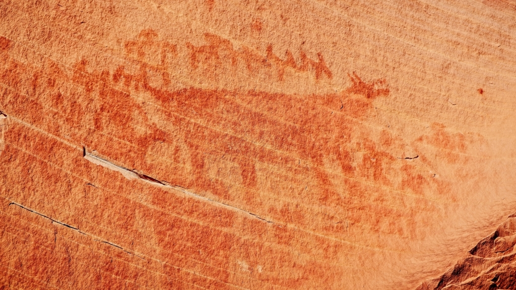 Zoom sur Red Bear Panel, à Natural Bridges National Monument, dans l'Utah.