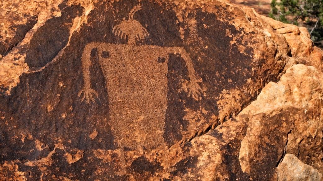 Vue rapprochée du Moab Maiden Panel, du côté du Kane Spring Creek, à Moab, dans l'Utah.