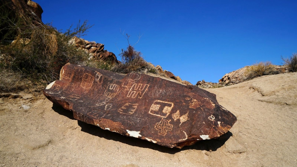 Joli panneau de pétroglyphes à Grapevine Canyon, dans le Nevada.