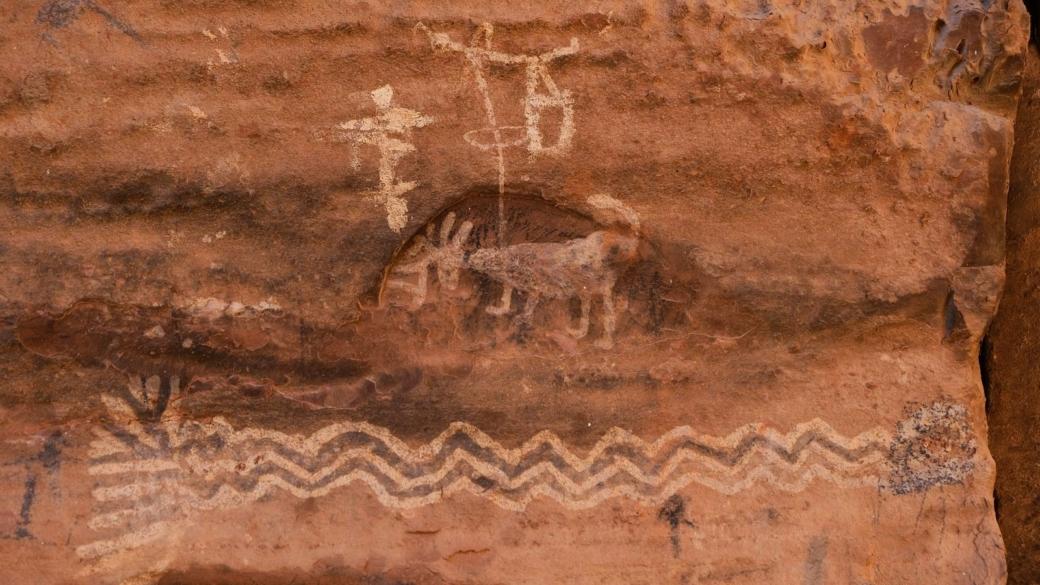 Détails sur des pétroglyphes du site de Loy Canyon, près de Sedona, dans l'Arizona.