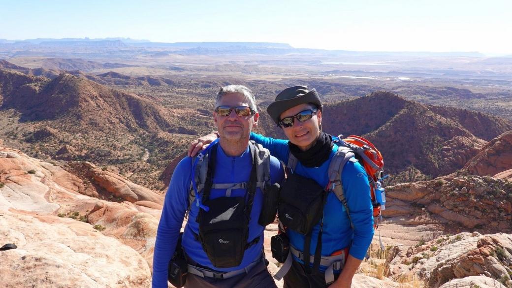 Stefano et Marie-Catherine à Yellow Top de Yant Flats, près de St. George, Utah.