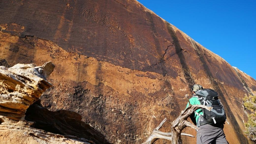 Prise de vue depuis le bas, du Hunt Panel, à Cedar Mesa, Utah.